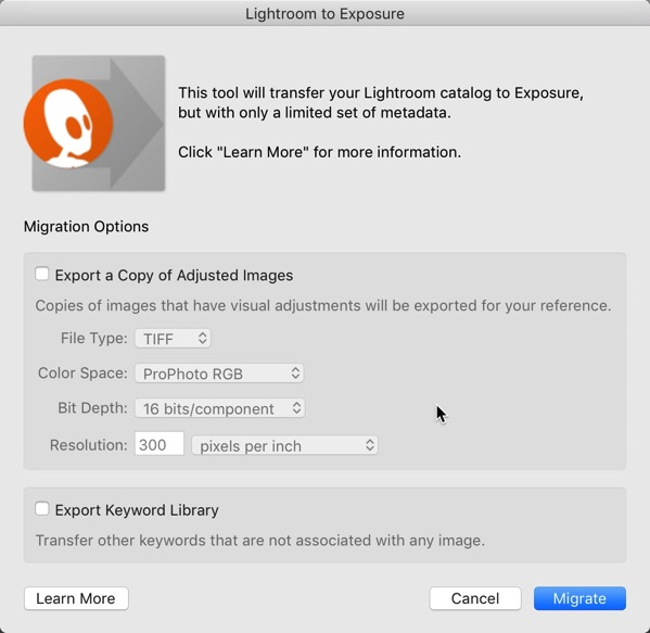 X4 Lightroom Migrate Dialog